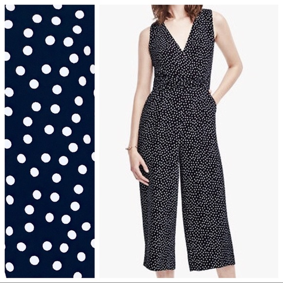 53582ff0347 LOFT Pants - Ann Taylor LOFT cropped polka dot jumpsuit sz MP